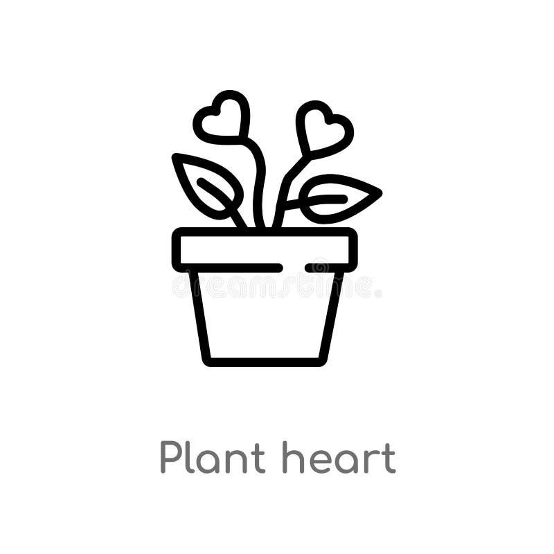 значок вектора сердца завода плана изолированная черная простая линия иллюстрация элемента от концепции призрения Editable ход ве иллюстрация вектора