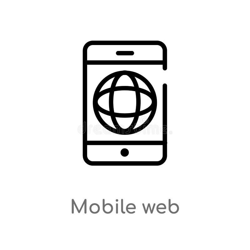 значок вектора сети плана мобильный изолированная черная простая линия иллюстрация элемента от концепции оплаты editable ход вект иллюстрация вектора