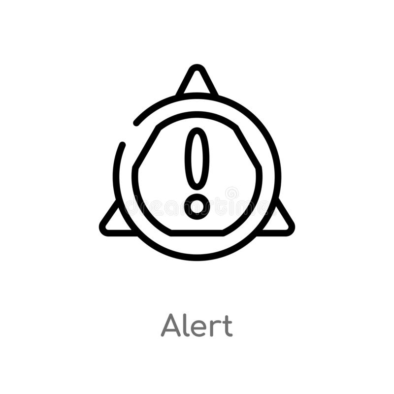 значок вектора сигнала тревоги плана изолированная черная простая линия иллюстрация элемента от концепции gdpr editable значок си бесплатная иллюстрация