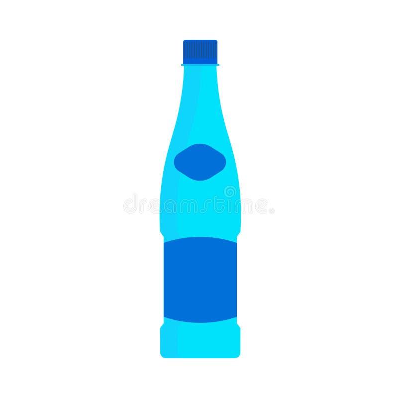 Значок вектора символа образа жизни пластикового объекта бутылки с водой естественный Синь соды напитка Aqua минеральная Стеклянн бесплатная иллюстрация