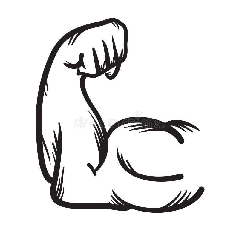 Значок вектора сильной руки нарисованный рукой сила иллюстрация штока