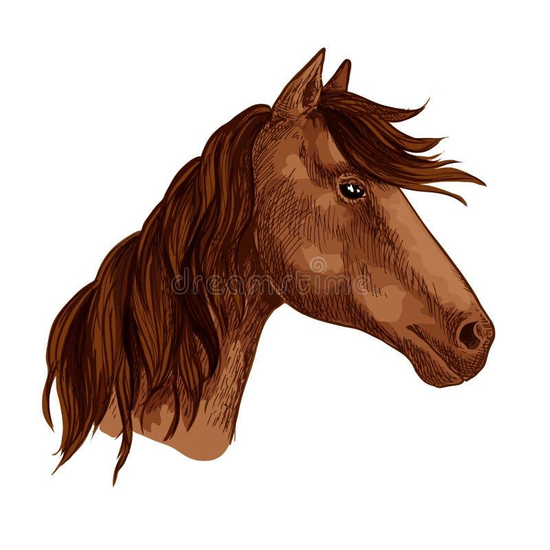 Значок вектора скаковой лошади жеребца лошади животный коричневый иллюстрация вектора