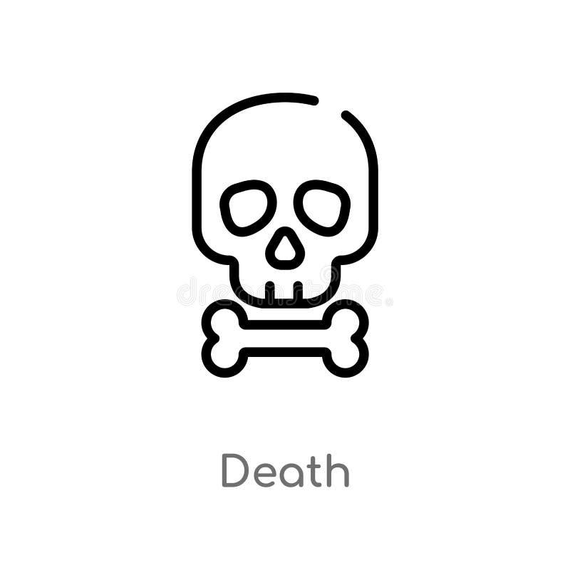 значок вектора смерти плана изолированная черная простая линия иллюстрация элемента от концепции природы editable значок смерти х бесплатная иллюстрация