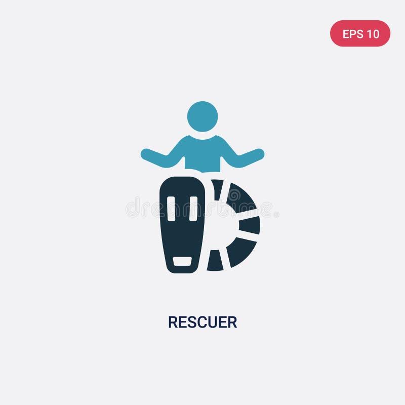 Значок вектора спасителя 2 цветов от концепции навыков людей изолированный голубой символ знака вектора спасителя может быть поль бесплатная иллюстрация