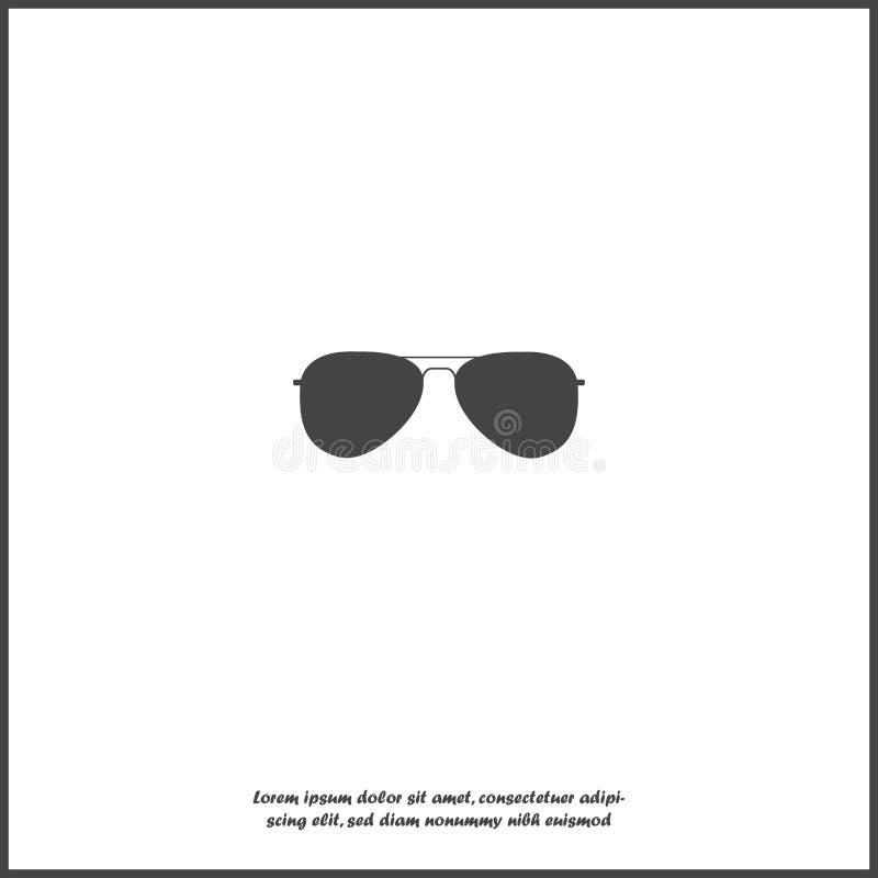 Значок вектора стекел авиаторов Пилотные стекла Солнечные очки защищают от солнца на белой изолированной предпосылке иллюстрация штока