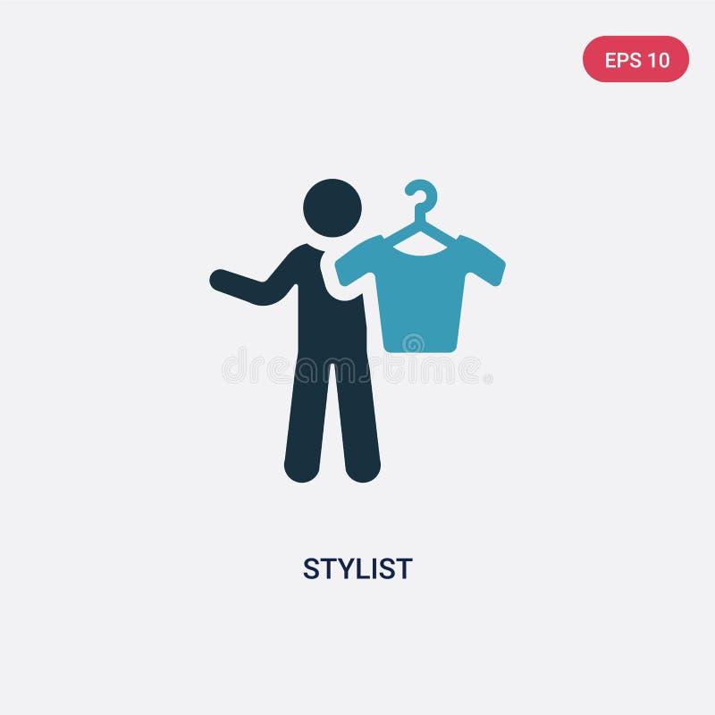 Значок вектора стилизатора 2 цветов от концепции навыков людей изолированный голубой символ знака вектора стилизатора может быть  иллюстрация вектора