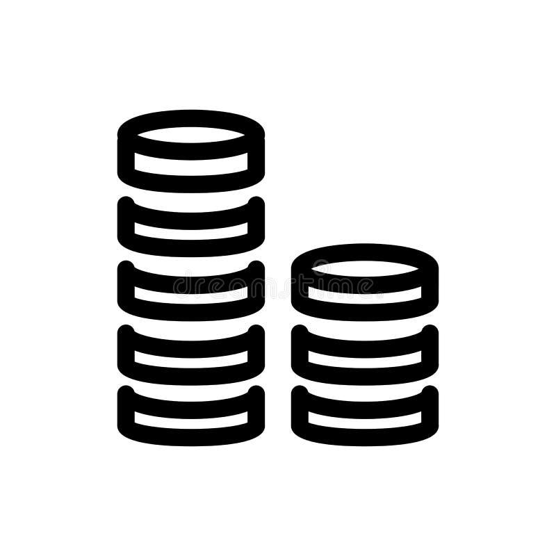 Значок вектора стога монетки Черно-белая иллюстрация денег Значок финансов плана линейный иллюстрация вектора