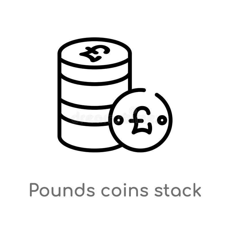 значок вектора стога монеток фунтов плана изолированная черная простая линия иллюстрация элемента от концепции дела editable вект бесплатная иллюстрация