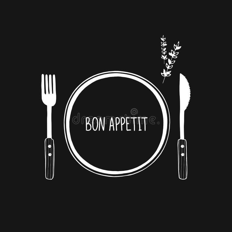 Значок вектора столового прибора и плиты, логотип Нарисованные рукой вилка, нож и плита эскиза doodle Бон Appetit иллюстрация вектора