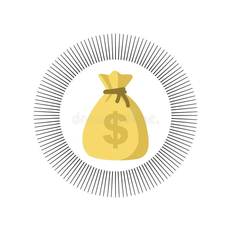 Значок вектора сумки денег, иллюстрация мультфильма moneybag плоская простая с черным drawstring и знак доллара изолированный на  иллюстрация вектора