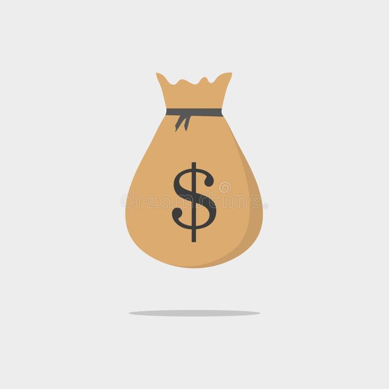 Значок вектора сумки денег, иллюстрация шаржа moneybag плоская простая с черным drawstring и знак доллара изолированный на белом  иллюстрация штока