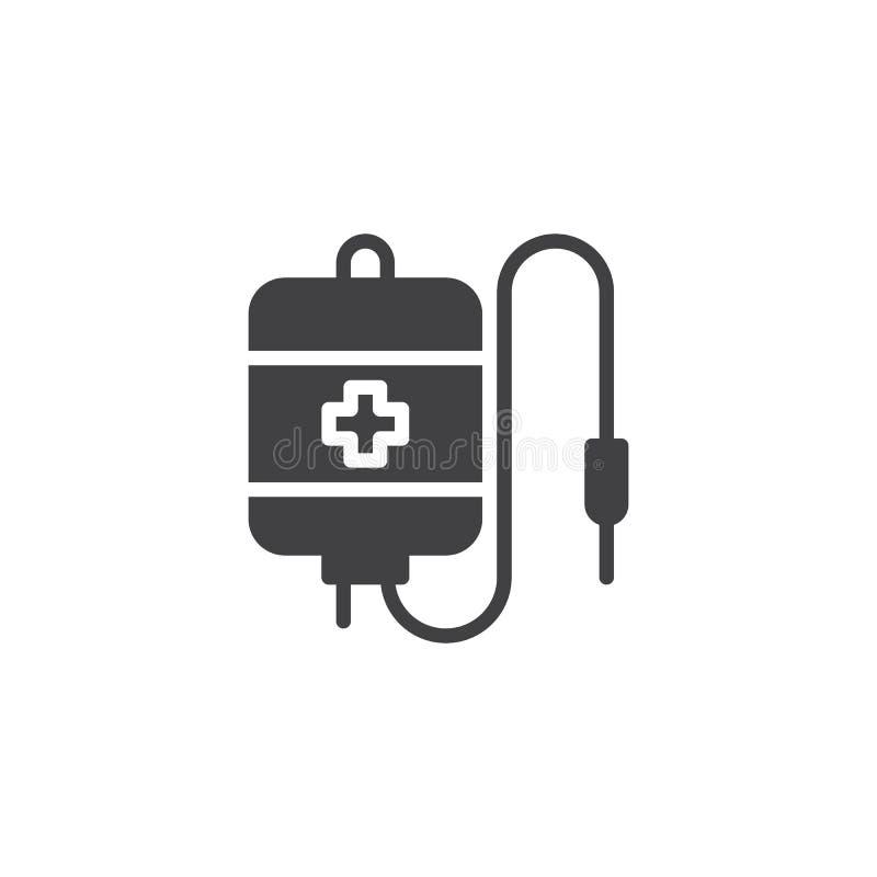 Значок вектора сумки переливания крови иллюстрация штока