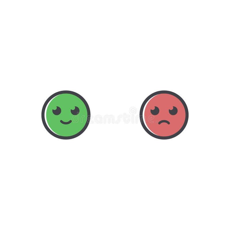 Значок вектора счастливый и грустный улыбки Значок эмоции Greem и красное emoji Как и нелюбов символ иллюстрация штока