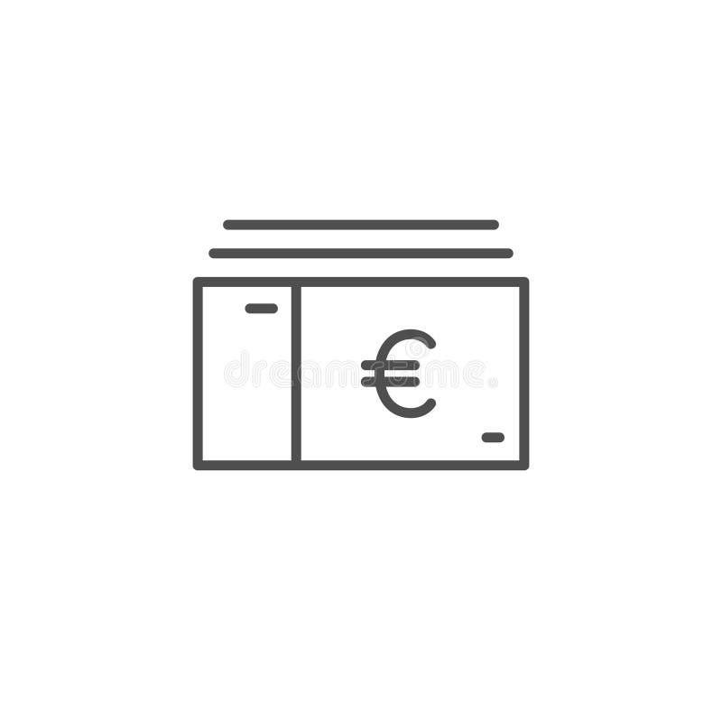 Значок вектора счета евро Линия знак наличных денег денег Eur плана, линейный тонкий символ, плоский плоский дизайн для сети, веб иллюстрация штока