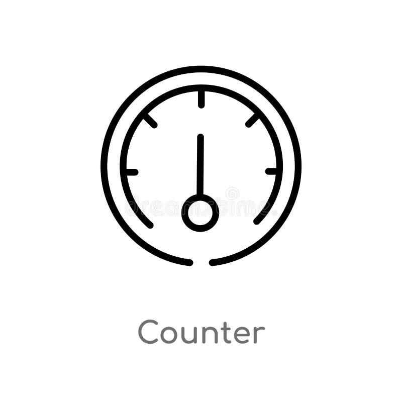 значок вектора счетчика плана изолированная черная простая линия иллюстрация элемента от концепции транспорта Editable ход вектор иллюстрация вектора