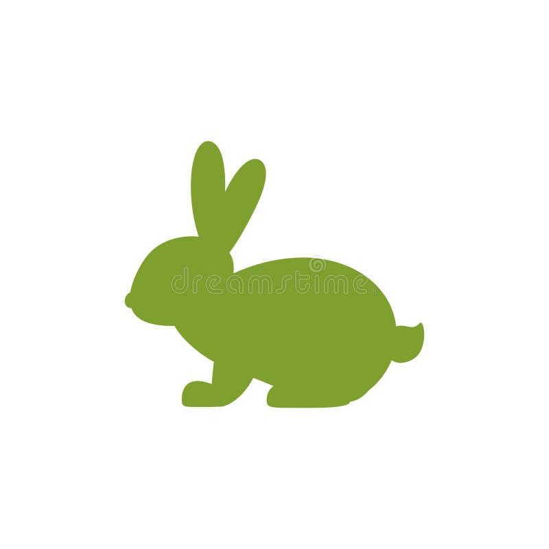 Значок вектора с силуэтом сидя кролика Зеленый зайчик лета с милыми длинными овальными ушами бесплатная иллюстрация