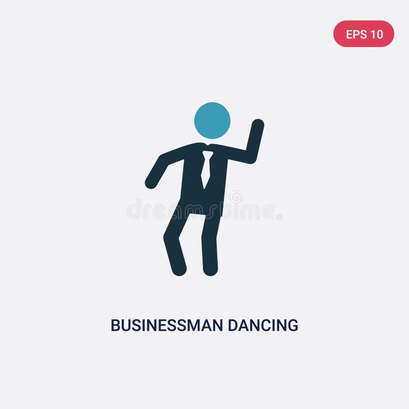 Значок вектора танцев бизнесмена 2 цветов от концепции людей изолированный голубой символ знака вектора танцев бизнесмена может б иллюстрация вектора