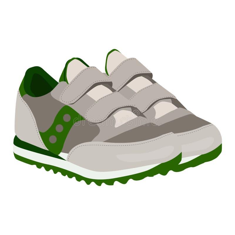 Значок вектора тапок младенца на белой предпосылке Иллюстрация ботинок спорта изолированная на белизне Стиль обуви реалистический иллюстрация вектора