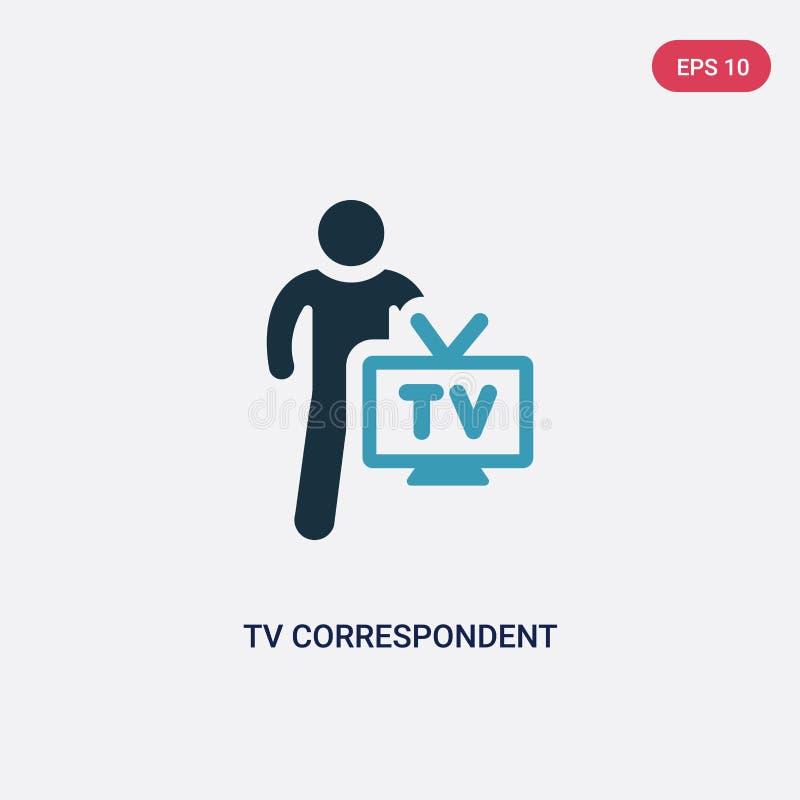 Значок вектора ТВ 2 цветов корреспондентский от концепции навыков людей изолированный голубой символ знака вектора ТВ корреспонде бесплатная иллюстрация