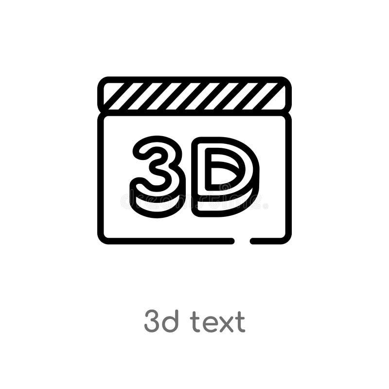 значок вектора текста плана 3d изолированная черная простая линия иллюстрация элемента от концепции кино editable текст хода 3d в иллюстрация вектора