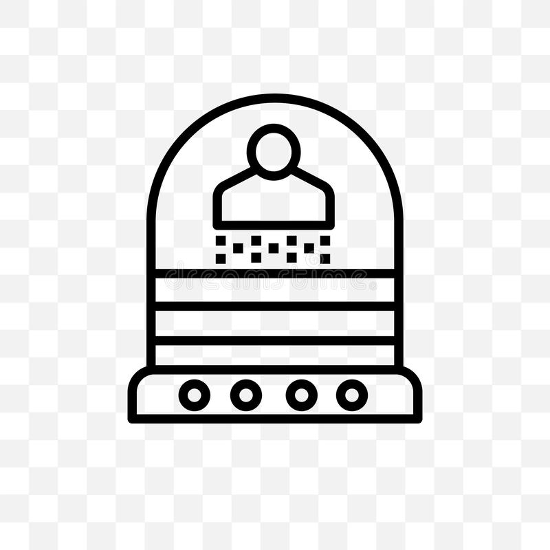 Значок вектора телепортации линейный изолированный на прозрачной предпосылке, концепции транспарентности телепортации можно испол иллюстрация вектора