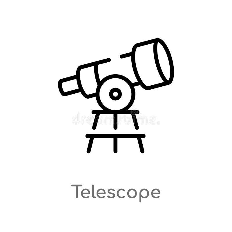 значок вектора телескопа плана изолированная черная простая линия иллюстрация элемента от концепции образования Editable ход вект иллюстрация штока