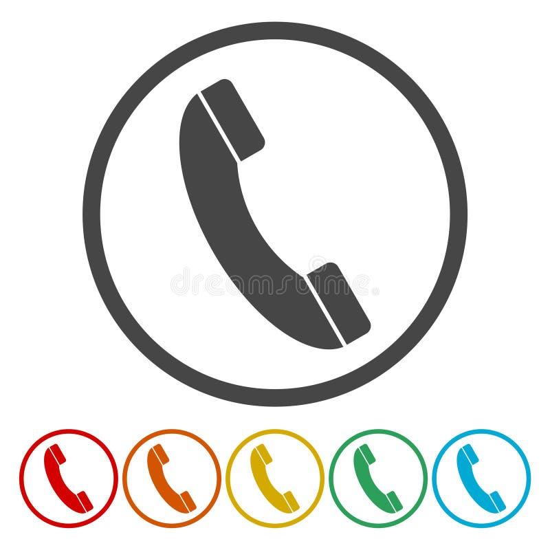 Значок вектора телефонного звонка Стиль плоско округленный символ иллюстрация вектора