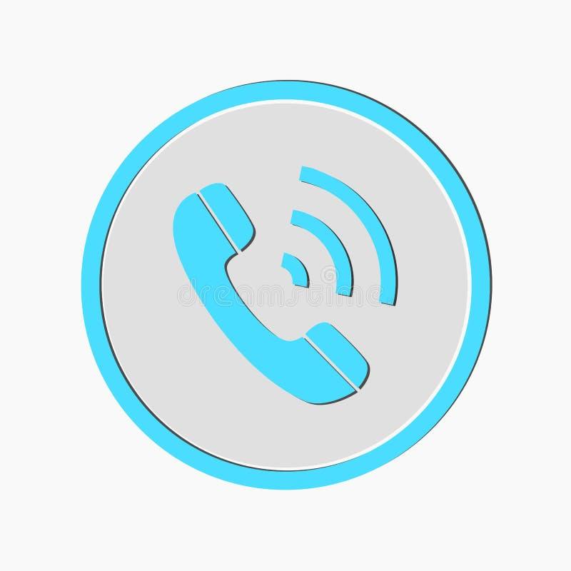 Значок вектора телефонного звонка Стиль символ округленный квартирой, голубой цвет, округленные углы, белая предпосылка EPS10 иллюстрация вектора