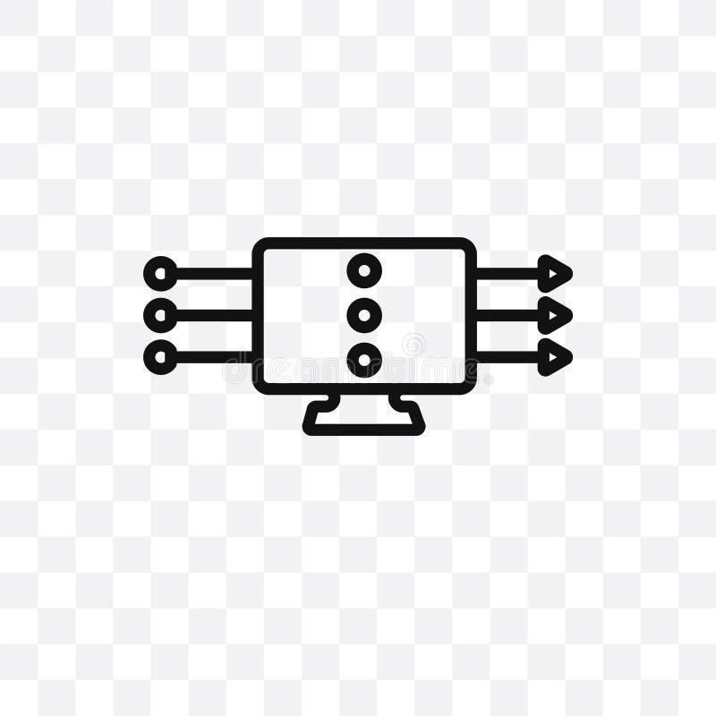 значок вектора течь данных линейный изолированный на прозрачной предпосылке, концепции транспарентности течь данных можно использ иллюстрация вектора