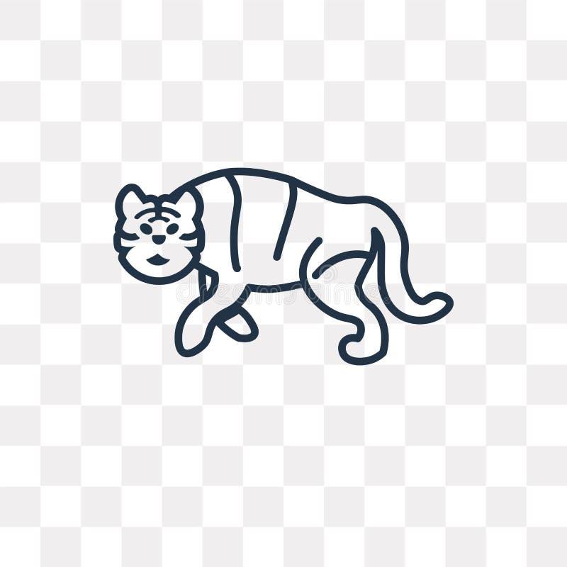 Значок вектора тигра изолированный на прозрачной предпосылке, линейном Tig иллюстрация вектора
