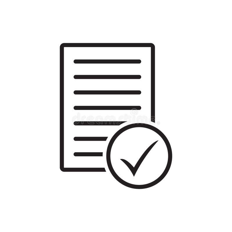 Значок вектора тикания документа иллюстрация штока