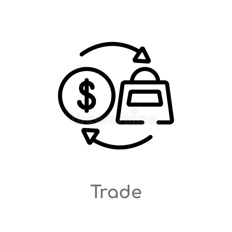 значок вектора торговлей плана изолированная черная простая линия иллюстрация элемента от концепции оплаты editable значок торгов иллюстрация вектора