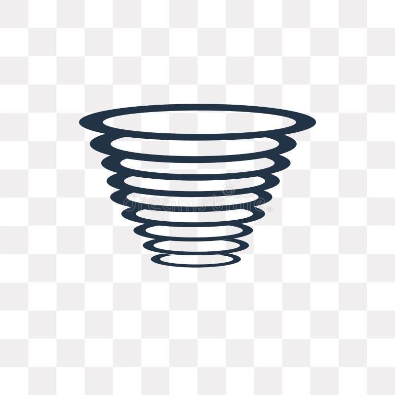 Значок вектора торнадо изолированный на прозрачной предпосылке, торнадо иллюстрация штока