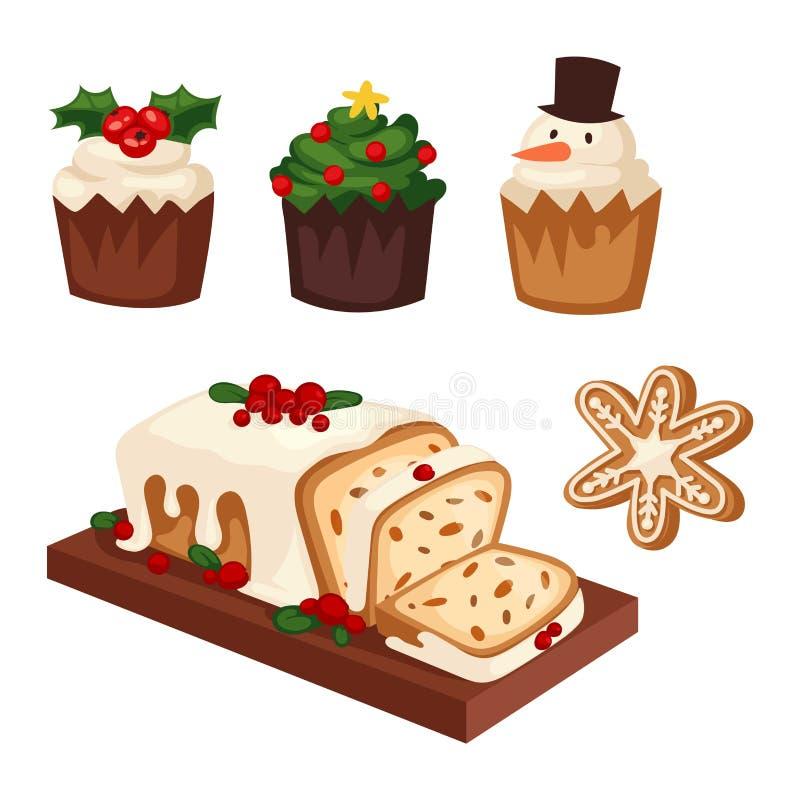 Значок вектора торта рождества бесплатная иллюстрация