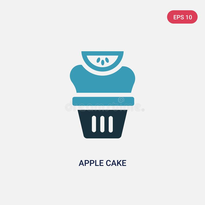 Значок вектора торта яблока 2 цветов от концепции вероисповедания изолированный голубой символ знака вектора торта яблока может б иллюстрация вектора