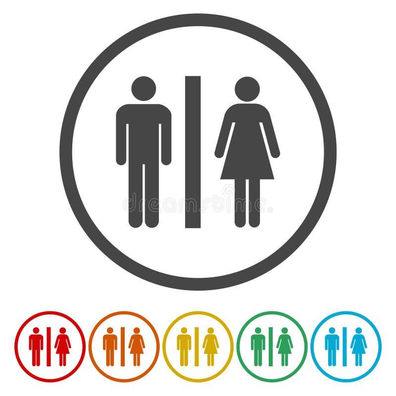 Значок вектора туалетов Стиль плоско округленный символ, иллюстрация вектора