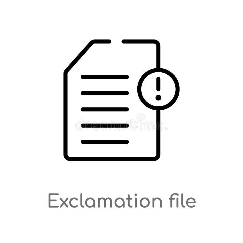 значок вектора файла возгласа плана изолированная черная простая линия иллюстрация элемента от окончательной концепции glyphicons иллюстрация штока