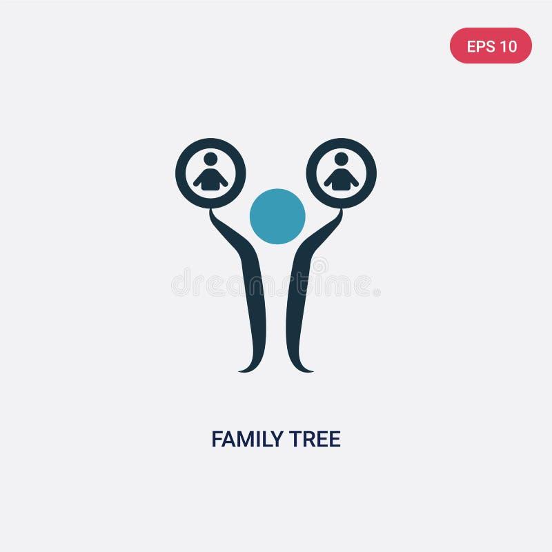 Значок вектора фамильного дерев дерева 2 цветов от концепции людей изолированный голубой символ знака вектора фамильного дерев де иллюстрация вектора