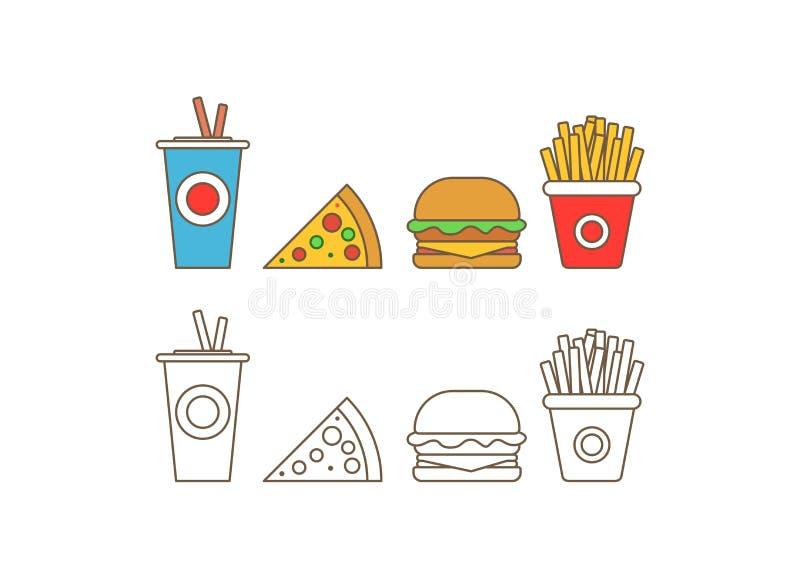 Значок вектора фаст-фуда Обедающий и ресторан гамбургера фаст-фуда, вкусный установленный фаст-фуд много еда и нездоровый фаст-фу иллюстрация штока