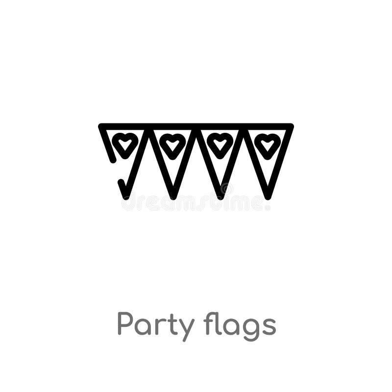 значок вектора флагов партии плана изолированная черная простая линия иллюстрация элемента от концепции партии editable партия хо иллюстрация штока