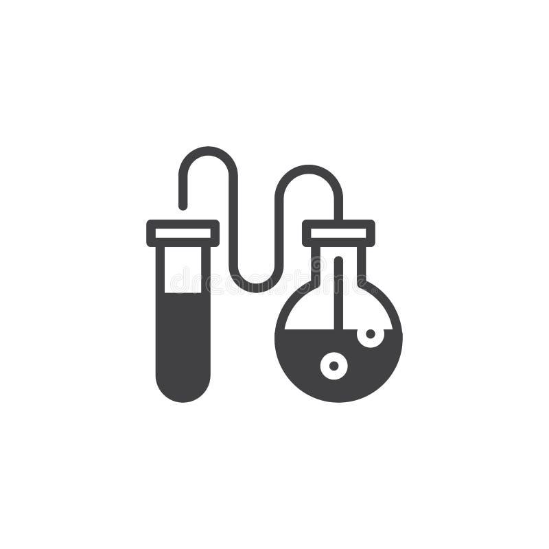 Значок вектора химического флакона и пробирки иллюстрация штока