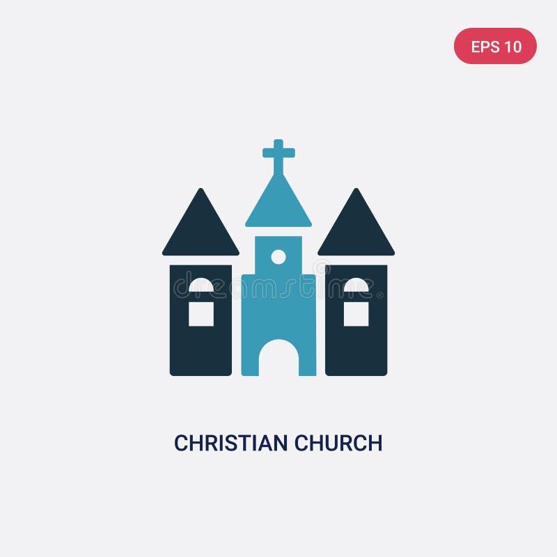 Значок вектора христианской церков 2 цветов от форм и концепции символов изолированный голубой символ знака вектора христианской  бесплатная иллюстрация