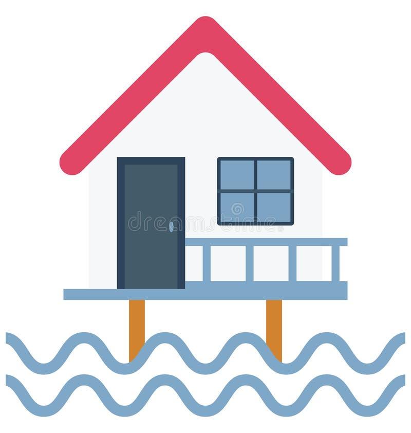 Значок вектора цвета дома моря который может легко доработать или отредактировать бесплатная иллюстрация