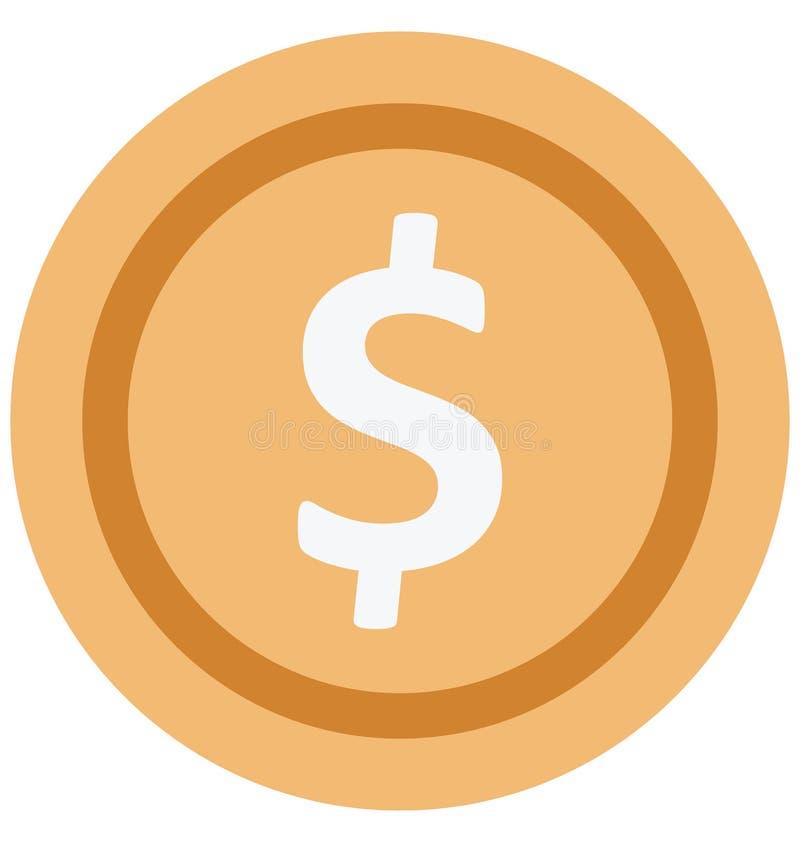 Значок вектора цвета монетки доллара который может легко доработать или отредактировать бесплатная иллюстрация