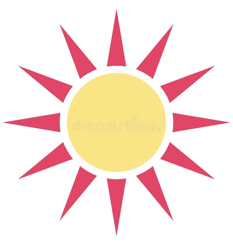 Значок вектора цвета солнечного дня который может легко доработать или отредактировать иллюстрация вектора