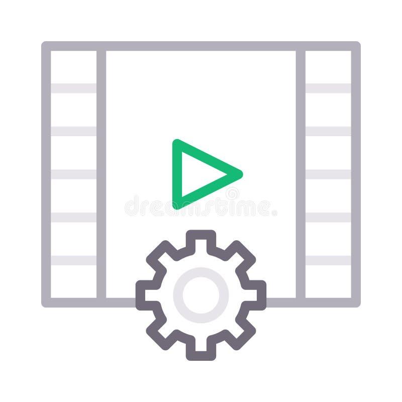 Значок вектора цветного барьера видео- установки Filmstrip тонкий бесплатная иллюстрация