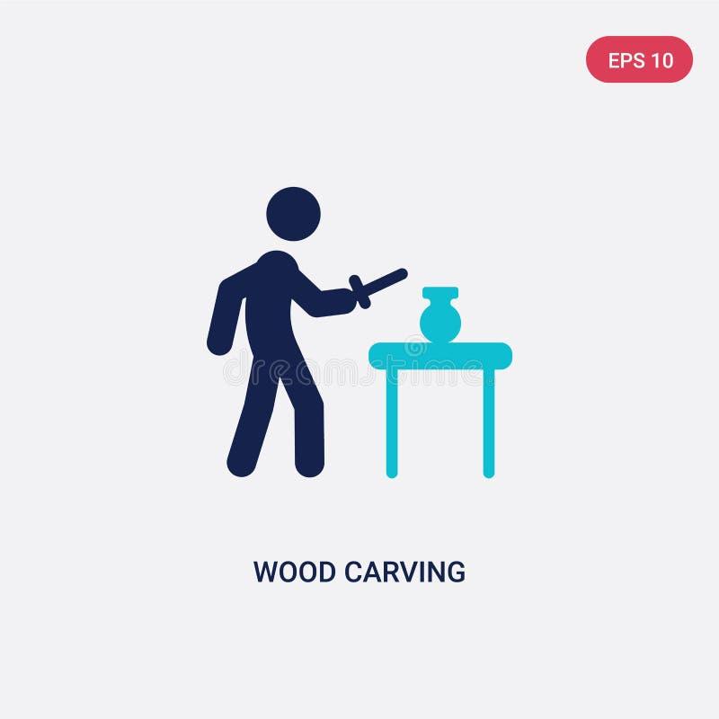 значок вектора 2 цветов деревянный высекая от деятельности и концепции хобби изолированный голубой деревянный высекая символ знак иллюстрация вектора
