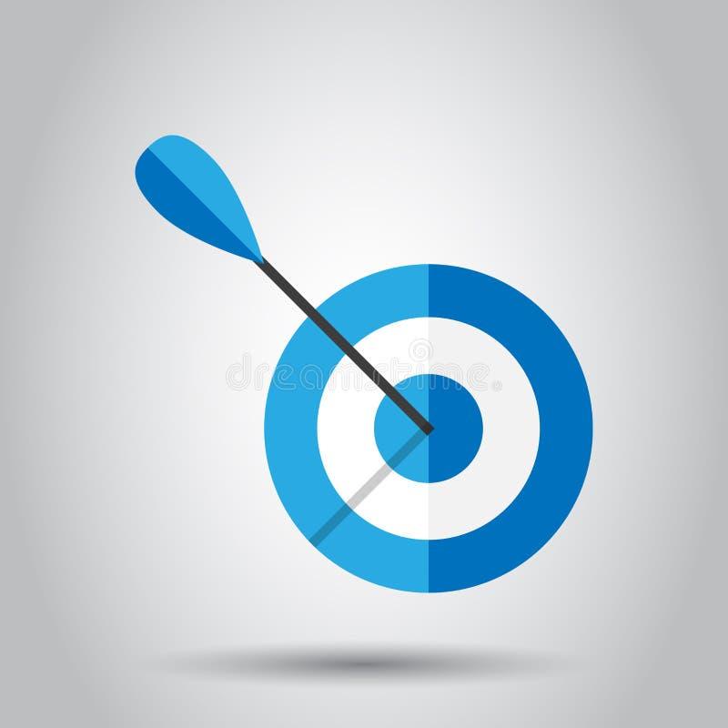 Значок вектора цели цели в плоском стиле Иллюстрация игры дротиков на белой предпосылке Концепция цели спорта Dartboard бесплатная иллюстрация