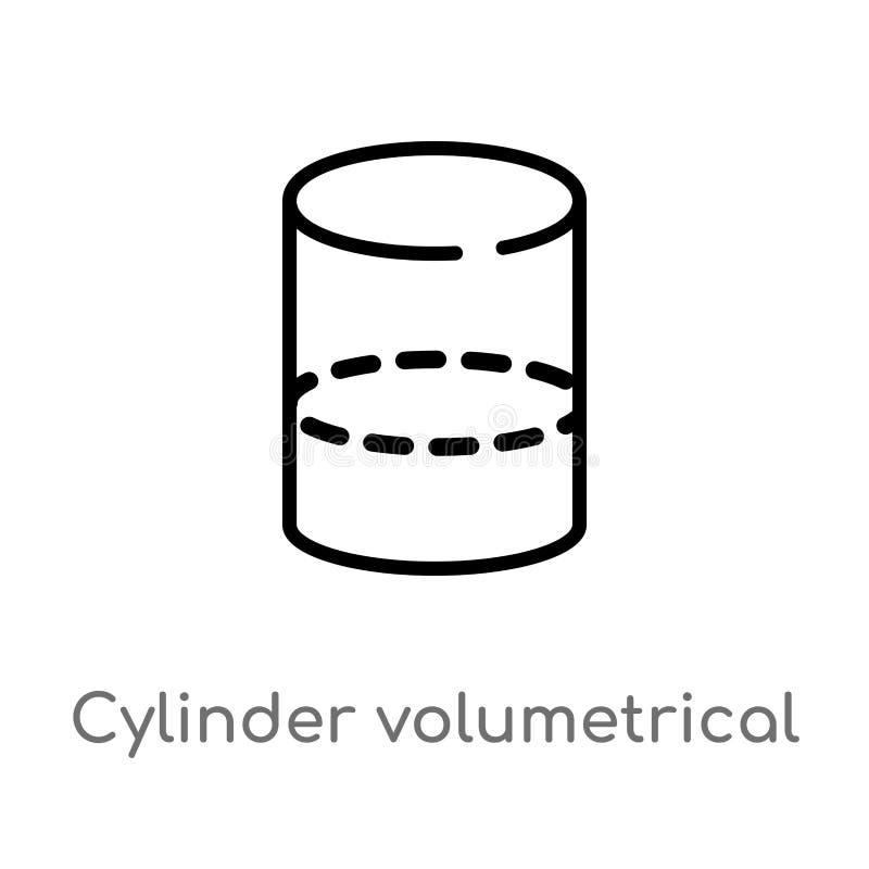 значок вектора цилиндра плана объемный изолированная черная простая линия иллюстрация элемента от концепции форм Editable вектор бесплатная иллюстрация