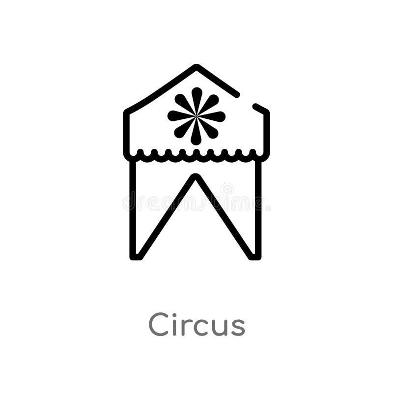 значок вектора цирка плана изолированная черная простая линия иллюстрация элемента от детей и концепции младенца Editable ход век иллюстрация штока
